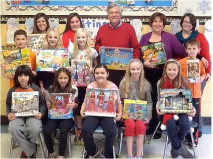 Top row, from left, are Student Council advisor Rachel Vyskocil, third grade teacher Jessica DiBrita, Senator Dean Skelos, Principal Liz Pryke and co-advisor Abby Wade. Middle row, from left, are Colin Sim, Secretary Erin O'Sullivan, Kaitlin O'Sullivan and Treasurer Charlie Ford. And in the front row, from left, is Timmy Warner, Vice President Skylar DeLuca, President Molly Ferazani, Mary O'Sullivan and Sydney Rathjen.