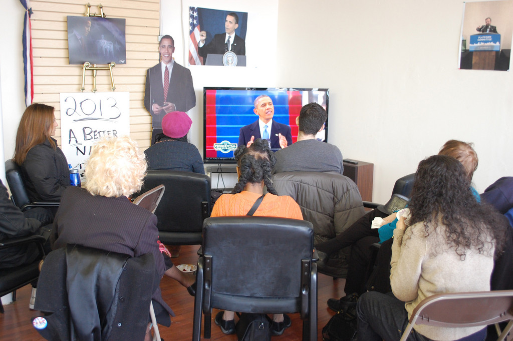 A small crowd gathered at the town Democratic Committee headquarters in Valley Stream on Monday to watch President Barack Obama's second inauguration.