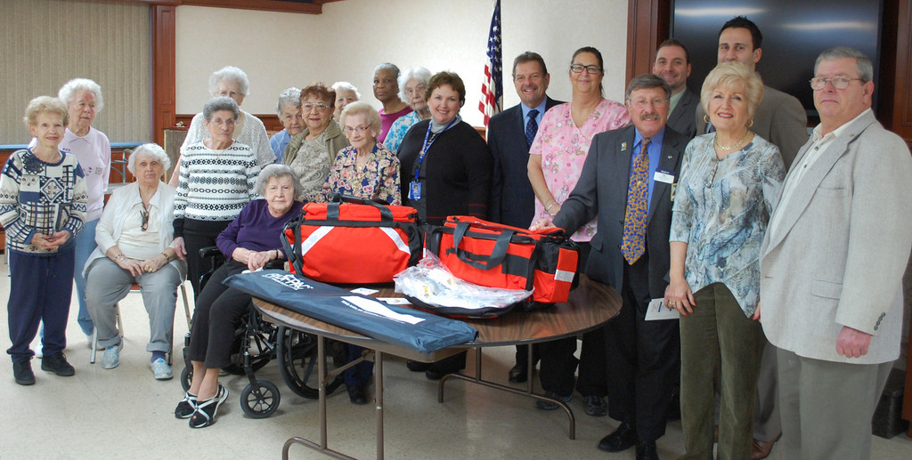 The Monica Village Crochet Club and Valley Stream Kiwanis Club presented pediatric trauma kits to two District 24 elementary schools last week.