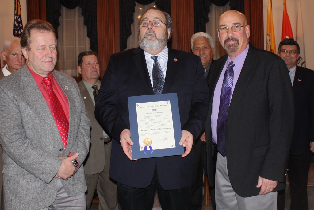 Rockville Centre Mayor Francis Murray was recognized for his community's help after the storm.