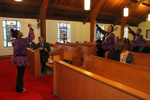 The Valley Stream Dance Ministry performed for those gathered at the Valley Stream Presbyterian Church to honor the late Civil Rights leader.
