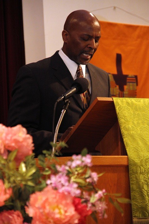The Rev. Kirk D. Lyons of the Brothers Keepers Organization delivers the keynote address.