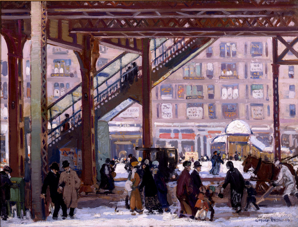 "Gifford Beal's ""Elevated, Columbus Avenue, New York,"" 1916 is among the many celebrated paintings included in the ""Artists in America"" exhibition at Nassau County Museum of Art."