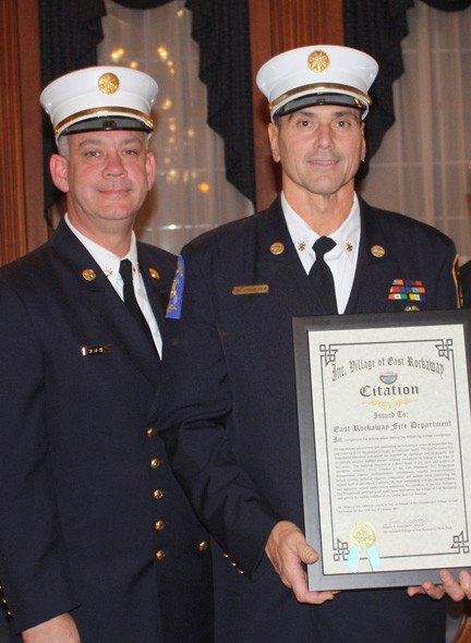 East Rockaway Fire Department chiefs James Henshaw and Ed Reicherter accepted their award on behalf of their department.