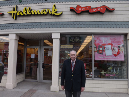 Bill Gaylor, pictured here in front of his shop, The Lyn Gift Shop, recently completed his term as Lynbrook Chamber of Commerce president.