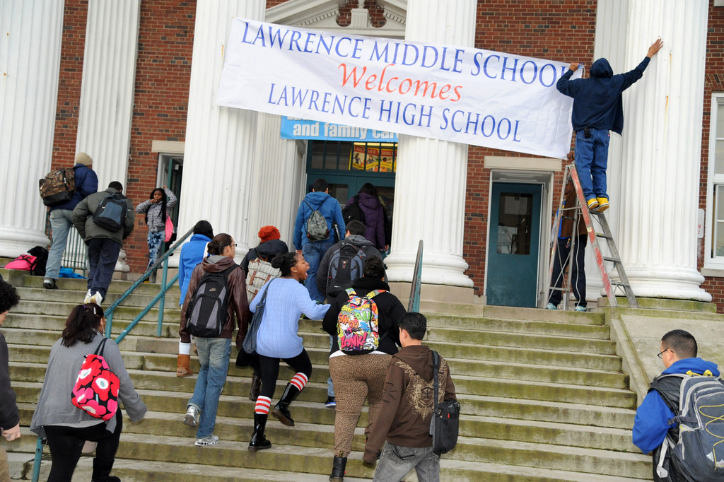 Lawrence High School students entered the middle school last Thursday after the high school was closed for Hurricane Sandy-related repairs.