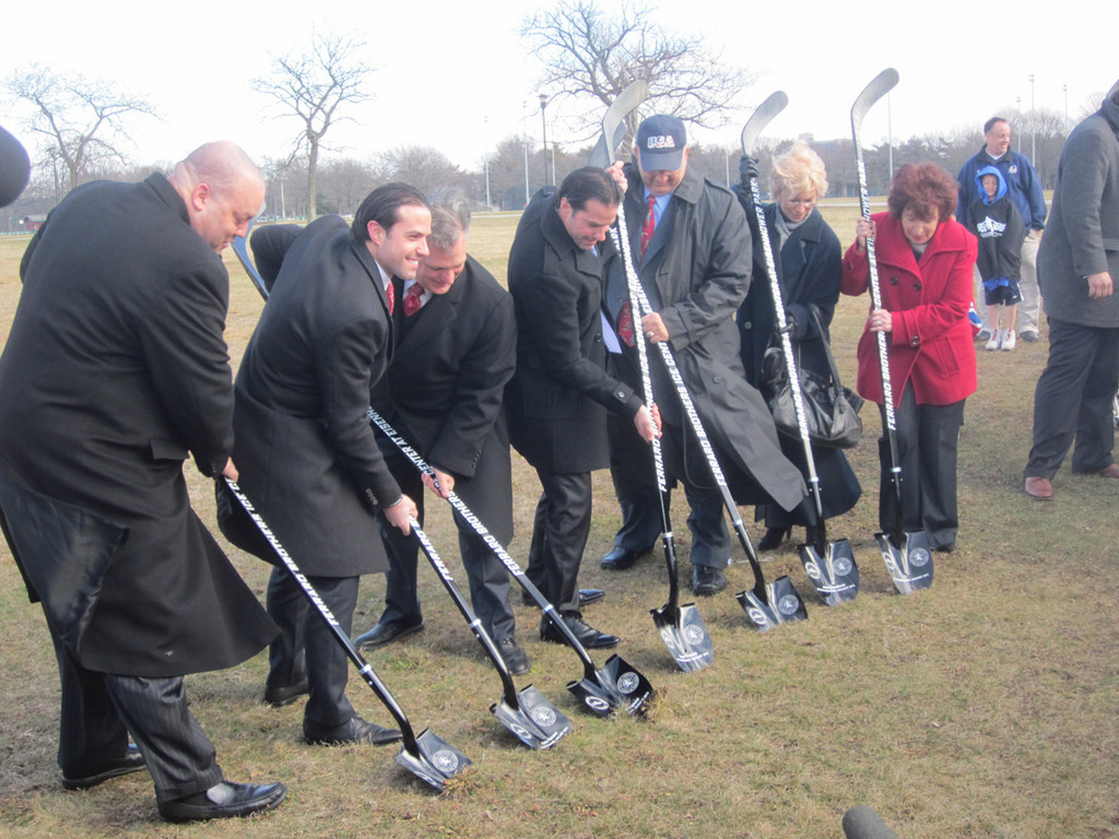 County Executive Ed Mangano, third from left, joined to his left and right by Chris and Peter Ferraro, broke ground on the Ferraro Brothers Ice Center at Eisenhower Park on Jan. 17. They were joined by consultant Richard Selgado of Coastal Advisors, far left, County Legislator Norma Gonsalves, far right, and other local officials.