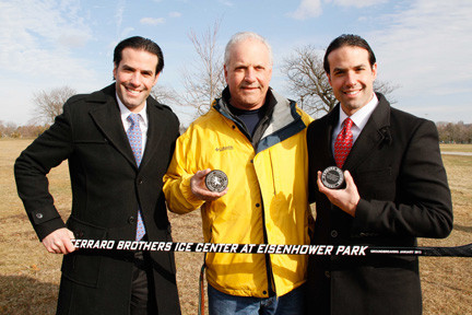Twin brothers Peter and Chris Ferraro, of Ferraro Brothers Hockey, with their father, Peter Sr., at the future site of the Ice Center.