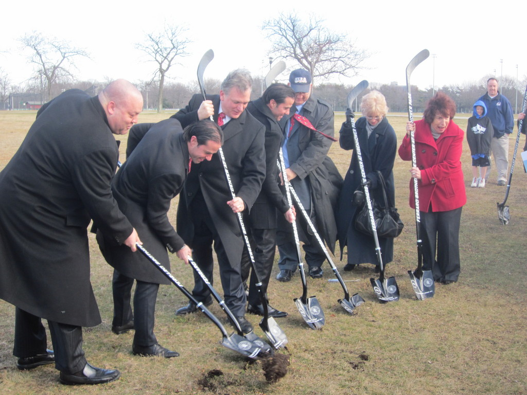 County Executive Ed Mangano, third from left, joined to his left and right by Chris and Peter Ferraro, broke ground on the Ferraro Brothers Ice Center at Eisenhower Park on Jan. 17. They were joined by consultant Richard Salgado of Coastal Advisors, far left, County Legislator Norma Gonsalves, far right, and Jack and CeCe Friedman.