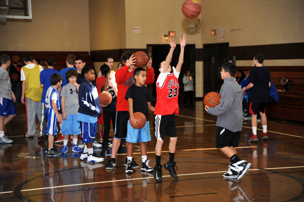 Dozens of kids, between the ages of 10 and 14, arrived at the gymnasium in side St. Raphael's Parish in East Meadow for the East Meadow Knights of Columbus Pope Pius XII Council's annual free throw competition.
