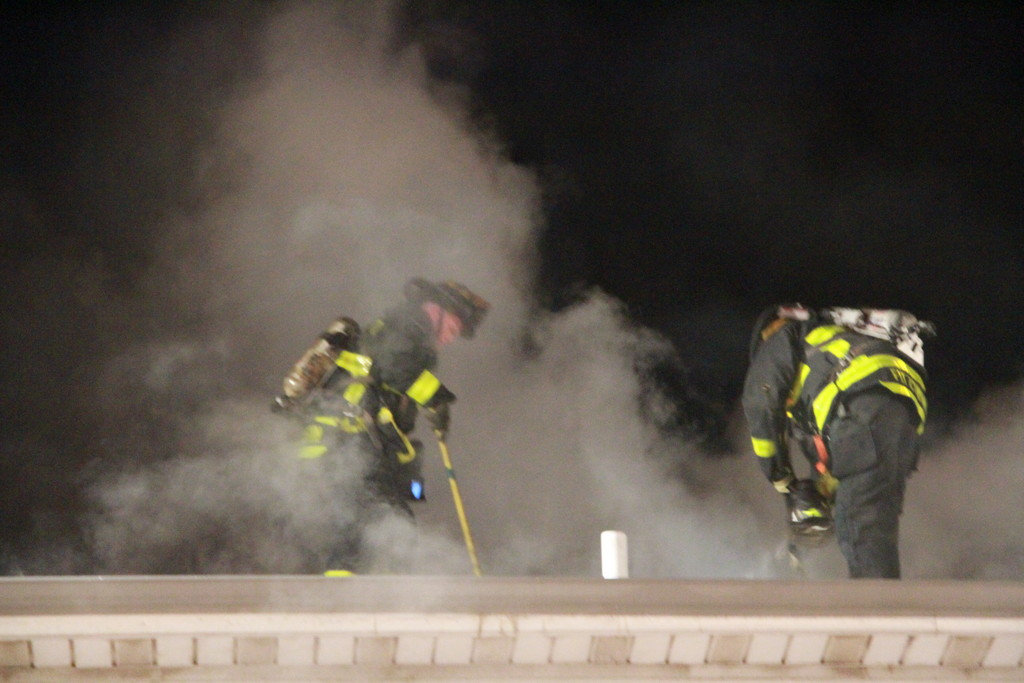 Two firefighters battled the smoke as they worked to extinguish the blaze at this Atlantic Boulevard home.