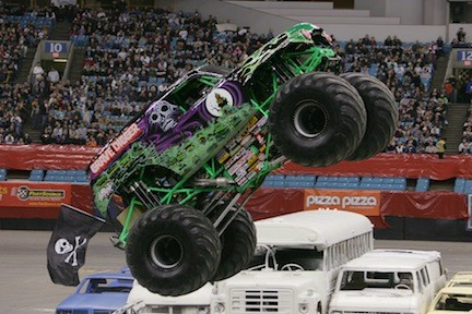 Grave Digger and the rest of the monster truck team share thrills with fans throughout the weekend.