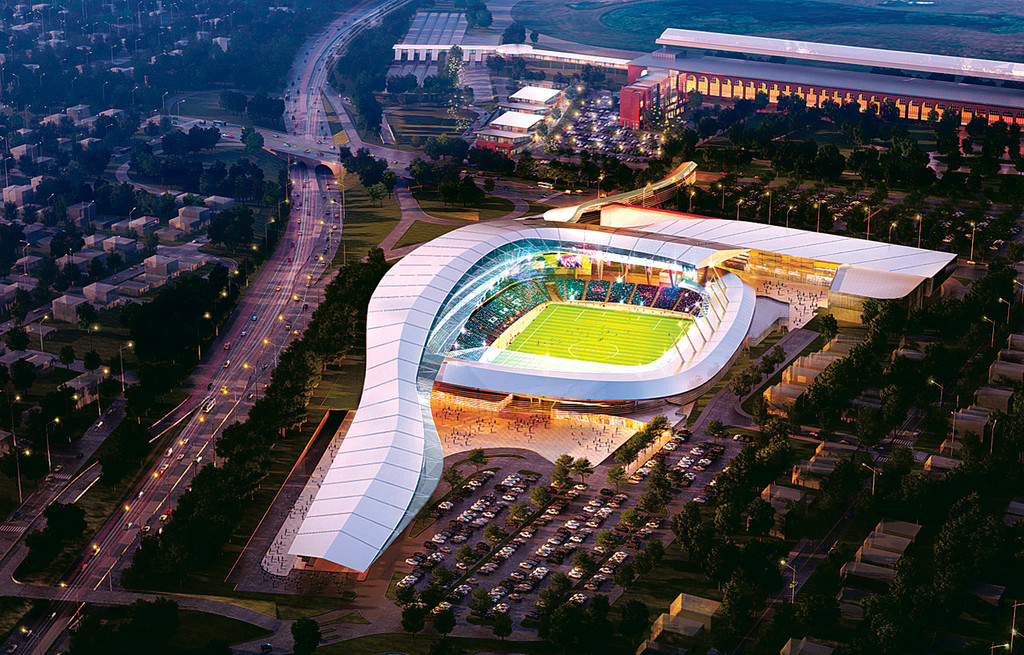 An artist's rendering of the soccer stadium that might be coming to Elmont.