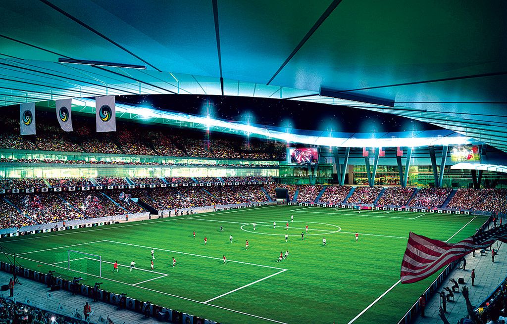 An artist's rendering of what the stadium experience will be like at a Cosmos soccer game.