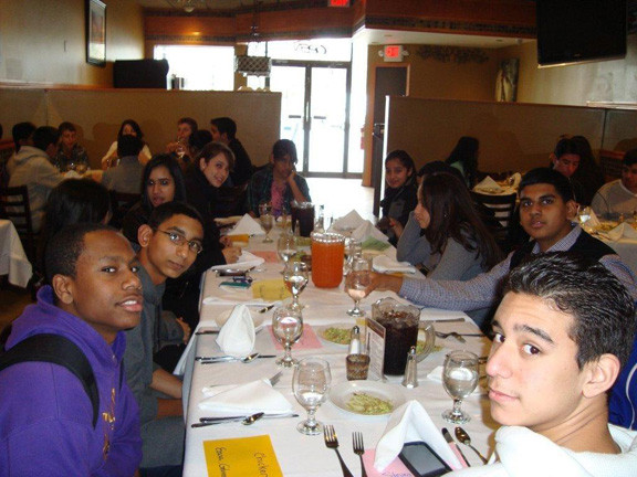 Students dining at �La Casa Latina� in Westbury.