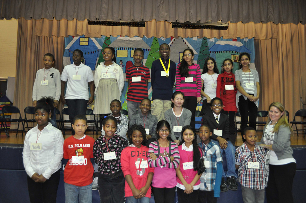 Twenty-one students at Alden Terrace School in the Elmont School District competed in the school's annual geography bee on Jan. 11. All of the students answered a variety of questions in five rounds, with sixth-grader Elekwa Onwuchekwa winning the bee in a tiebreaker round.