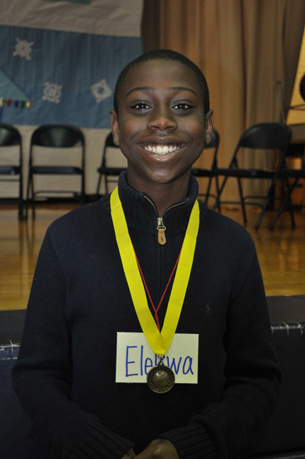 Sixth-grader Elekwa Onwuchekwa won the geography bee for a second consecutive year at Alden Terrace School in the Elmont School District on Jan. 11. He now has the opportunity to take a written test in order to qualify for the statewide competition.