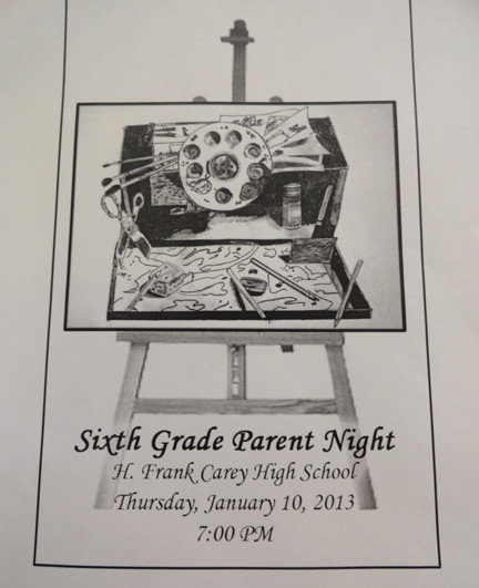 The cover of the Parent Night Program designed by 10th grader Italo Campagna.