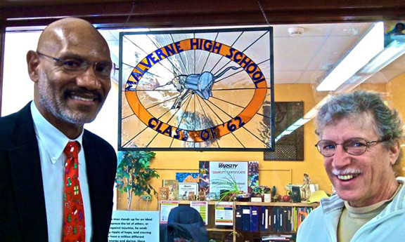 Stained glass artist Michael Ziegler with Malverne High School Principal James Brown.