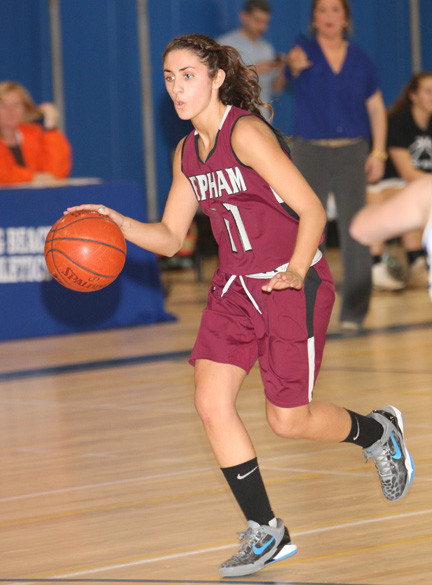 Senior Samantha Hishmeh led the Lady Pirates with 13 points in last Friday's Conference AA-III setback at Long Beach.