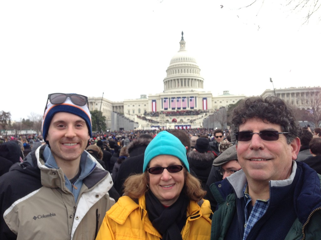 Jeanne Greco Jacobs saw President Barack Obama get sworn in for his second term with her husband James, right, and son Daniel.
