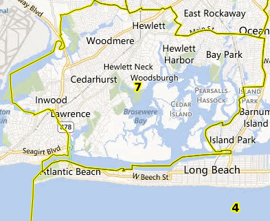 Under the Nassau County United Redistricting Coalition plan, the Five Towns would be split into four districts, 3, 4, 5 and 7.