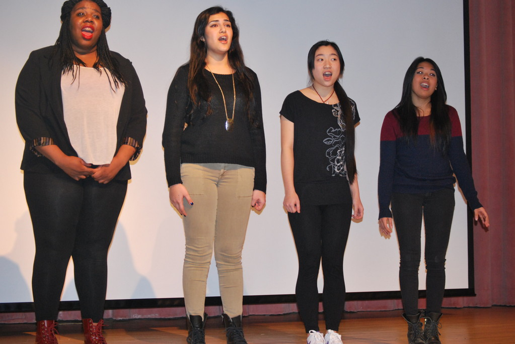 The National Anthem was sung by Hewlett High School's Quartet at Community Chest's annual meeting. Juniors Rose Generoso, Laurie Antoine, Maria Suleymanov and Jasmine Pei.