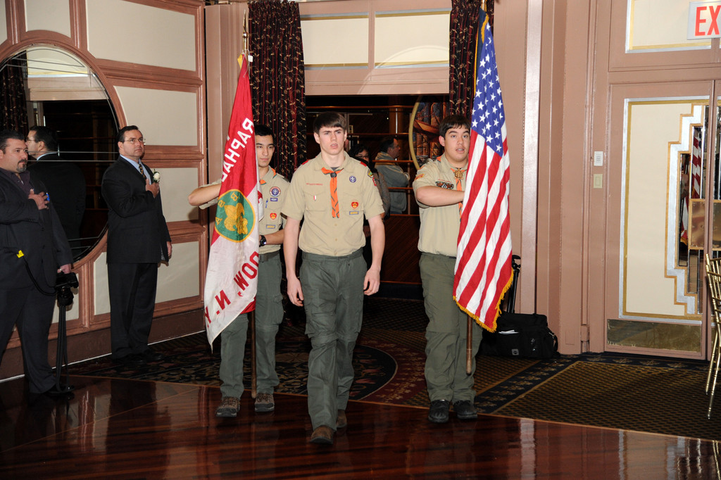 East Meadow Boy Scouts Troop 362 marched in the American flag at the opening of the dinner.