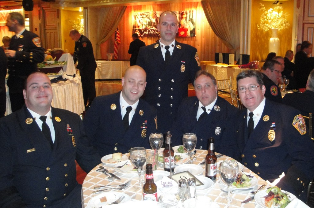 Among the honorees during the Merrick Chamber of Commerce's annual installation dinner were volunteers from the North Merrick Fire Department.