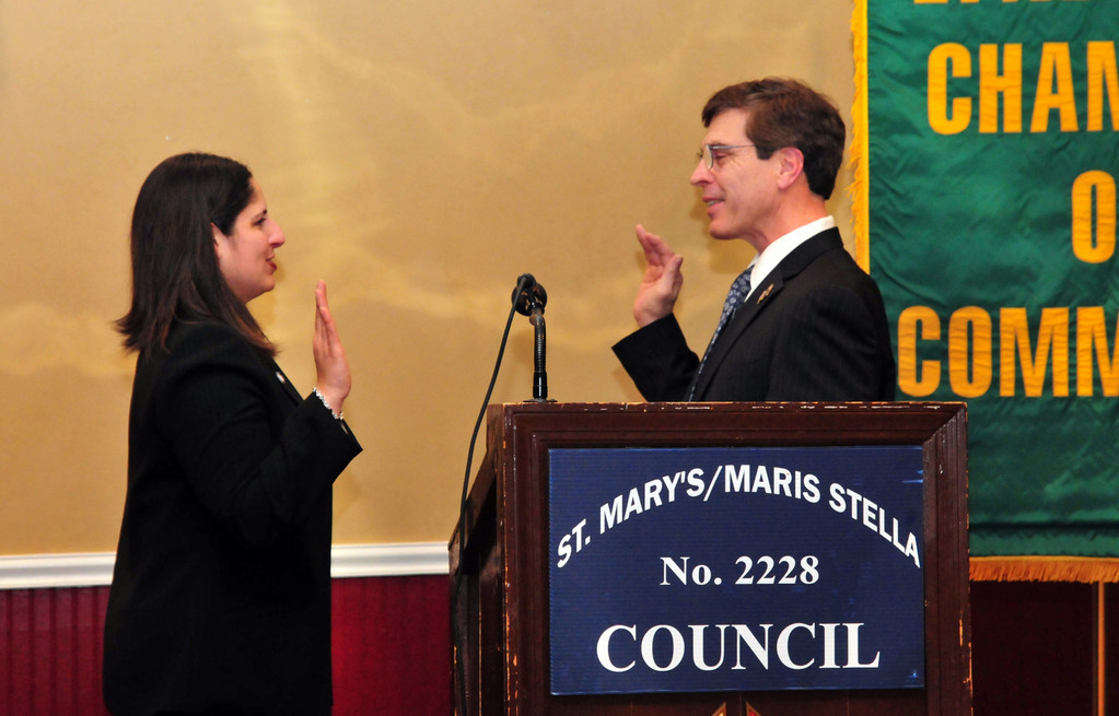 Denise Rogers was sworn in as Chamber president by Lynbrook Deputy Mayor Alan Beach.