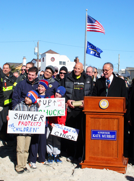 Sen. Charles Schumer held a press conference in Point Lookout a day before Congress acted.