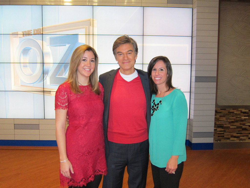 Carolyn Fanning, left, Dr. Mehmet Oz and Mepham librarian and graduate Shari Stack discussed stroke warning signs and risk factors on Oz's nationally televised talk show.