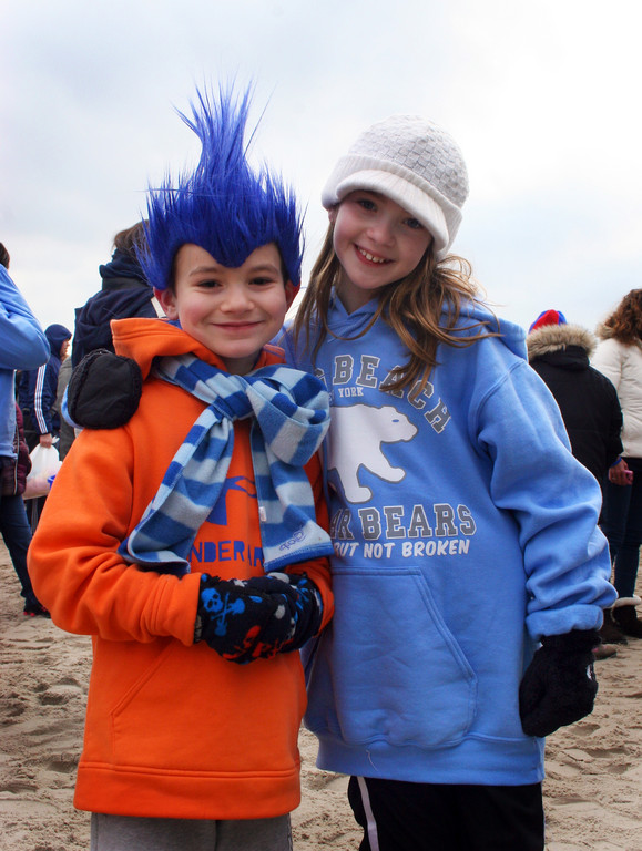 Mason Balian, 7, and his sister Bridgette Balian, 9, showed their support at the Long Beach Polar Bear Splash.