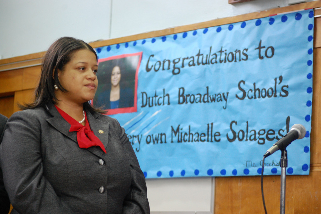 Michaelle Solages returned to her former elementary school for a ceremonial swearing in.