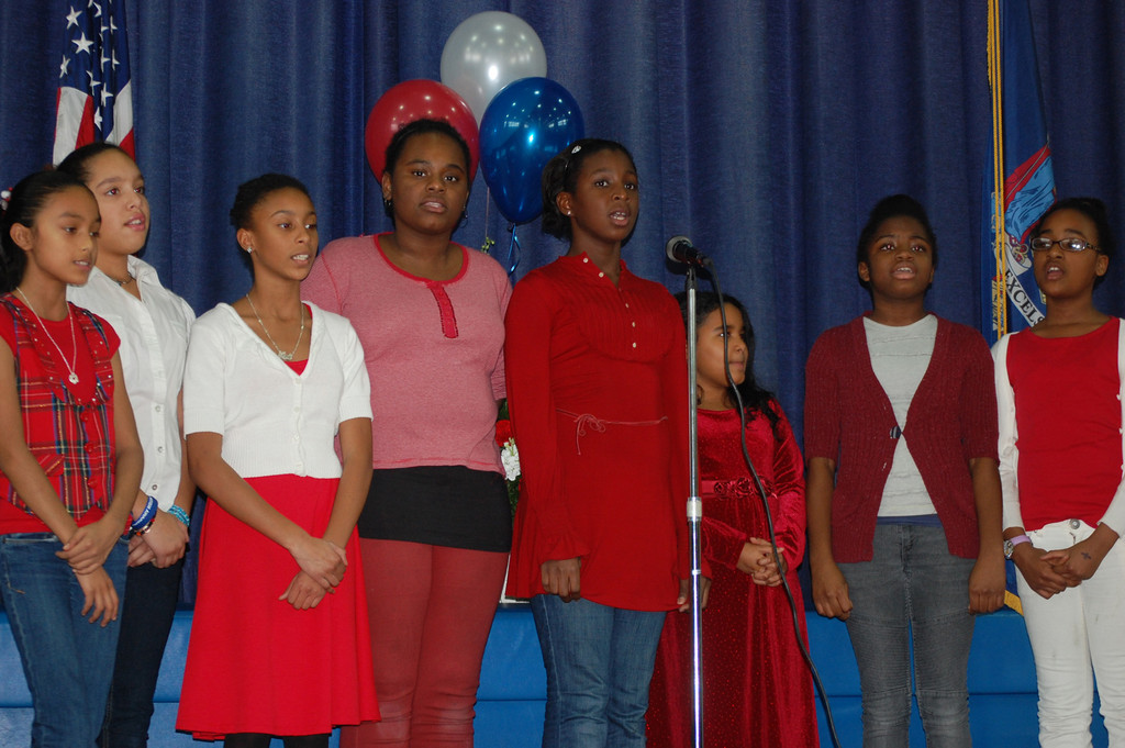 Students from the Dutch Broadway School sang the national anthem at the beginning of last Friday's swearing-in ceremony.