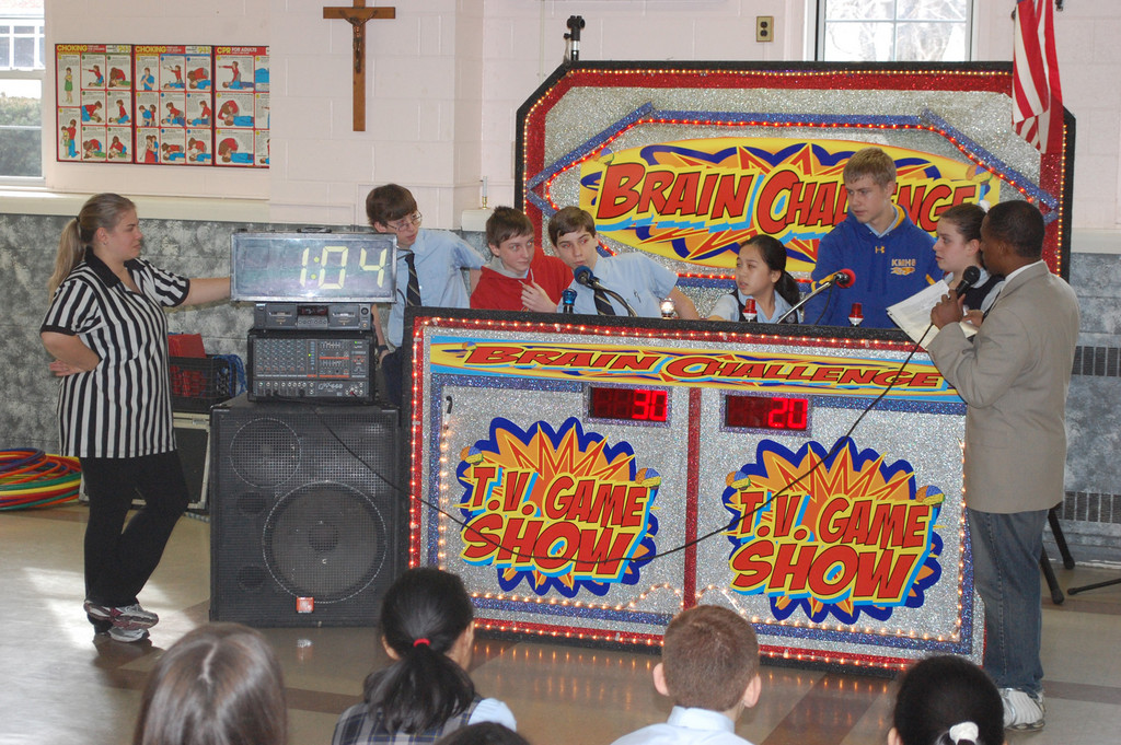Students at Holy Name of Mary School competed in the Brain Challenge, a TV-style game show that featured mental and physical challenges, last Friday to close out Catholic Schools Week.