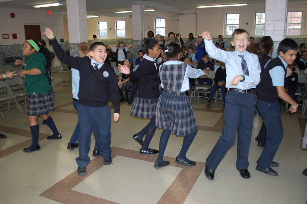A dance competition was part of the Brain Challenge TV-style game show at Holy Name last Friday morning.