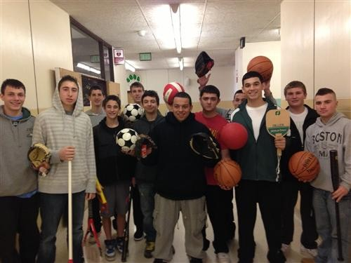 Students in Bradley Seidman�s Sports in American Culture class recently donated equipment to inner-city youth.