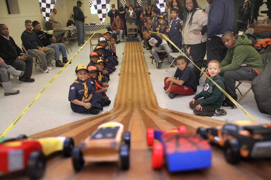Cub Scouts from Pack 106 anxiously waited for the races to begin on Jan. 25.