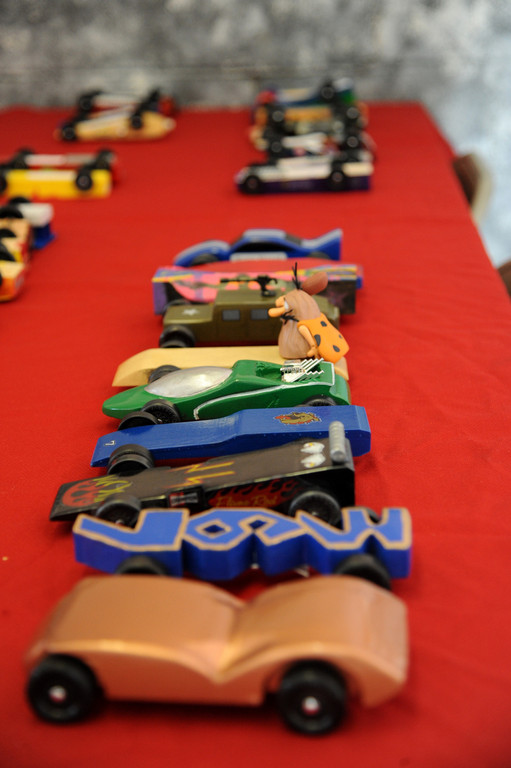 Some of the entries in Pack 367's Pinewood Derby.