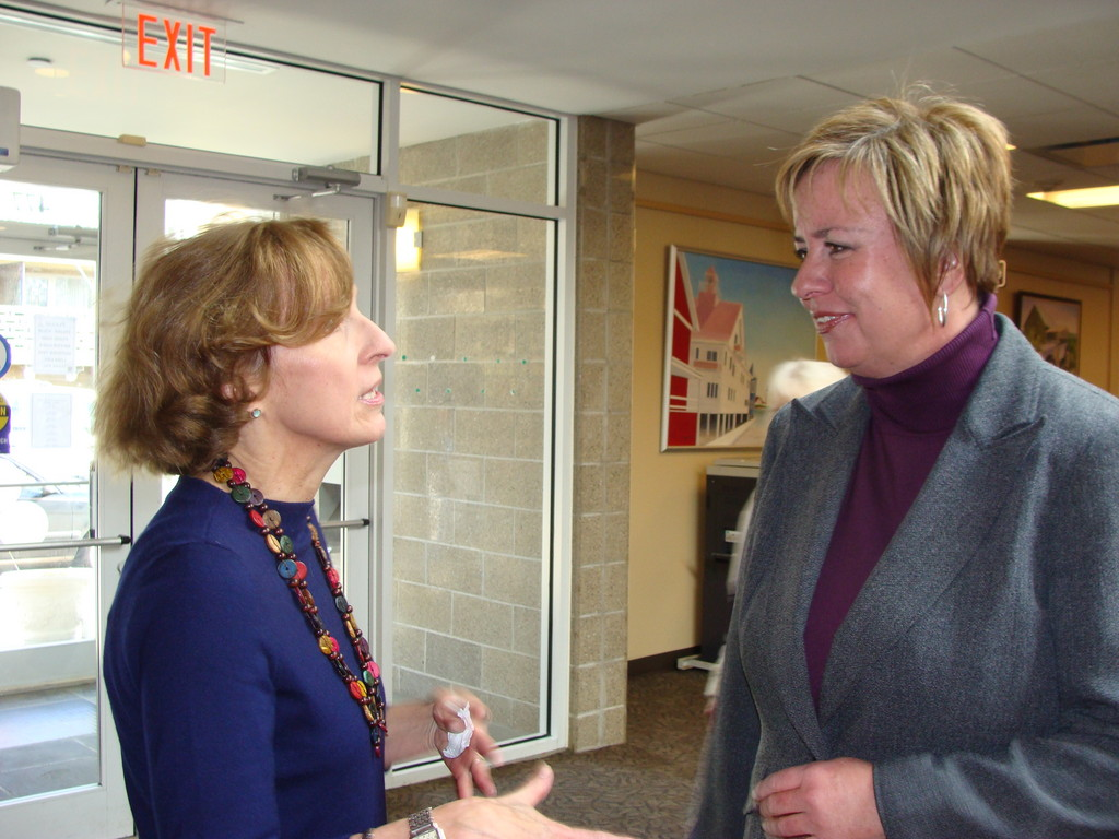 Library Director Betty Chavat chats with Town Supervisor Kate Murray.
