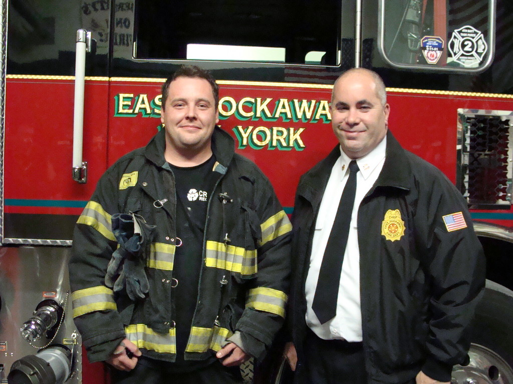 ERFD member Allen Ball, left, with Chief Steve Torborg.