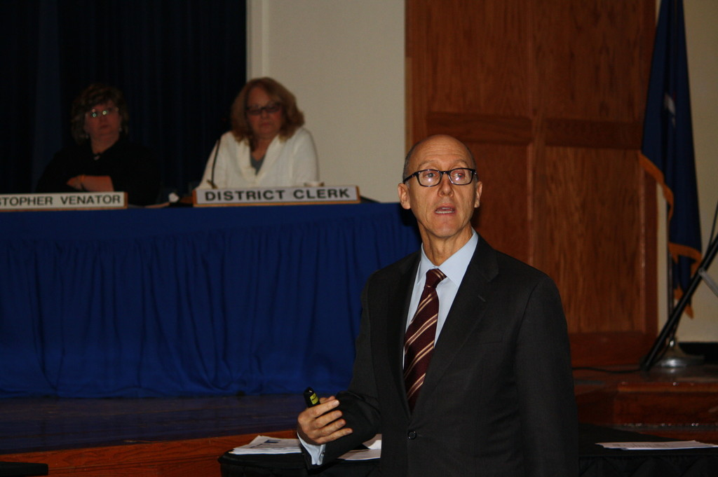 Long Beach School District COO Michael DeVito gave a presentation of the district�s school safety measures at the Jan. 22 School Board meeting.