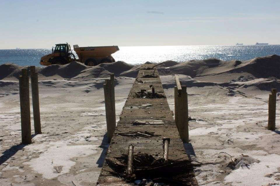 The city has constructed sand barriers along the beach to protect during winter storms in the aftermath of Sandy.