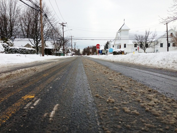 Ocean Avenue was plowed early Saturday morning.