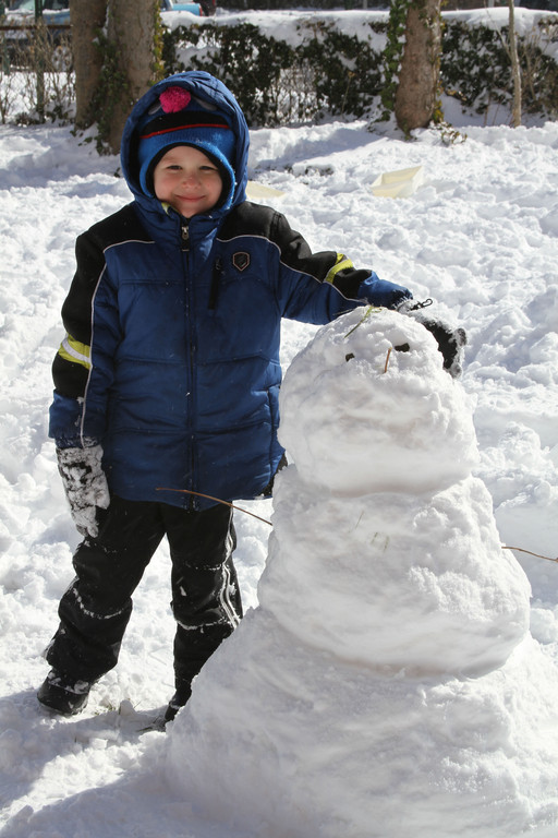In Cedarhurst, Noah Freer made a snowman making after Winter Storm Nemo dumped nearly a foot of snow in the Five Towns.