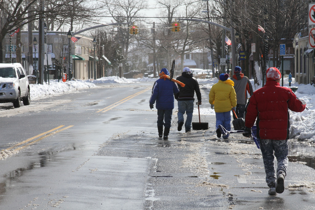 A brigade of snow shovelers were out in force after Nemo.