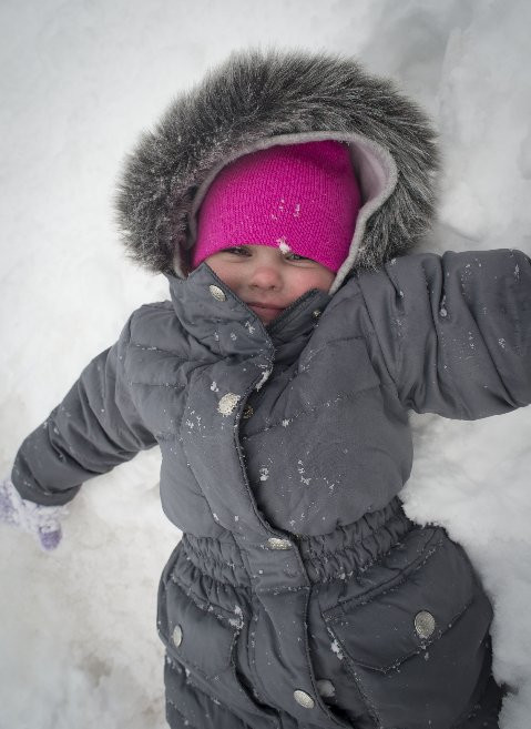 Nora Smith, 2, of East Rockaway made a beautiful snow angel.