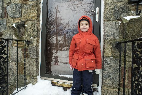 Sean Smith, 4, got ready to play in the snow.