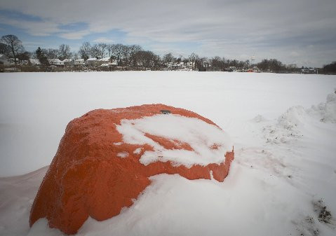 """THE ROCK"" on the East Rockaway High School field has been its share of storms."